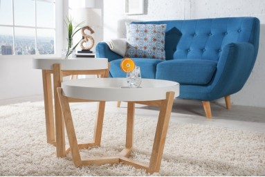 Ewald - Table d'appoint gigogne blanche style scandinave