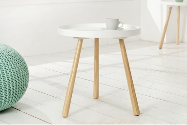 Julianne - Table d'appoint blanche style scandinave