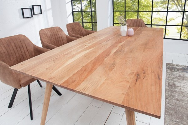 Rene - Table à manger design scandinave de 100 cm coloris naturel en bois massif
