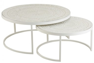 Alain - Ensemble de 2 tables basses design coloris blanc