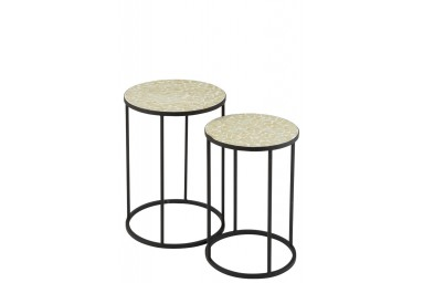 Alejandro - Ensemble de 2 tables d'appoint design coloris jaune pâle