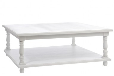 Angéla - Table basse design vintage en bois coloris blanc