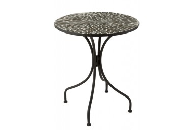 Table ronde design mosaïque coloris taupe