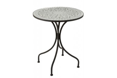 Table ronde design mosaïque coloris blanc