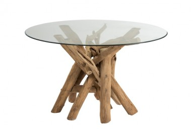 Table à manger  ronde 128cm en bois flotté coloris naturel