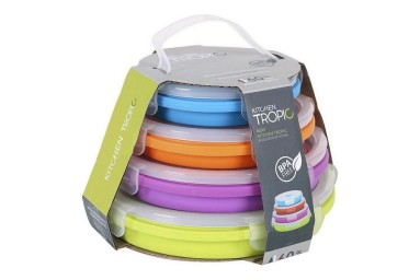 Ensemble de 4 Boîtes à Lunch Kitchen Tropic Ronde (4 Uds)-Nevaconfort