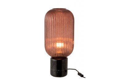 Lampe Table Yufo Long Verre/Marbre Rouge/Noir